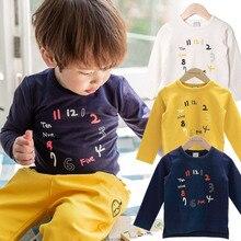Футболка для мальчиков и девочек; Детские хлопковые топы с длинными рукавами для малышей; детская футболка с принтом часов; Одежда для младенцев