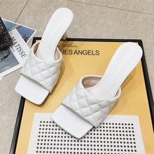 Square Head Peep-Toe High Heels Newest Women Slides Mules Shoes Classic Slippers 2020 Summer Outdoor Quality Sandals