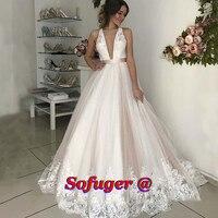 Elegant Ivory Aline Wedding Dresses Scoop Backless Pleat Vestidos de Noivas Abiti Da Sposa Formal Wedding Bridal Gown