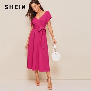 Image 3 - فستان صيفي أنيق للنساء من SHEIN بسوستة من الخلف مع فتحة رقبة واسعة وياقة على شكل V بخصر مرتفع