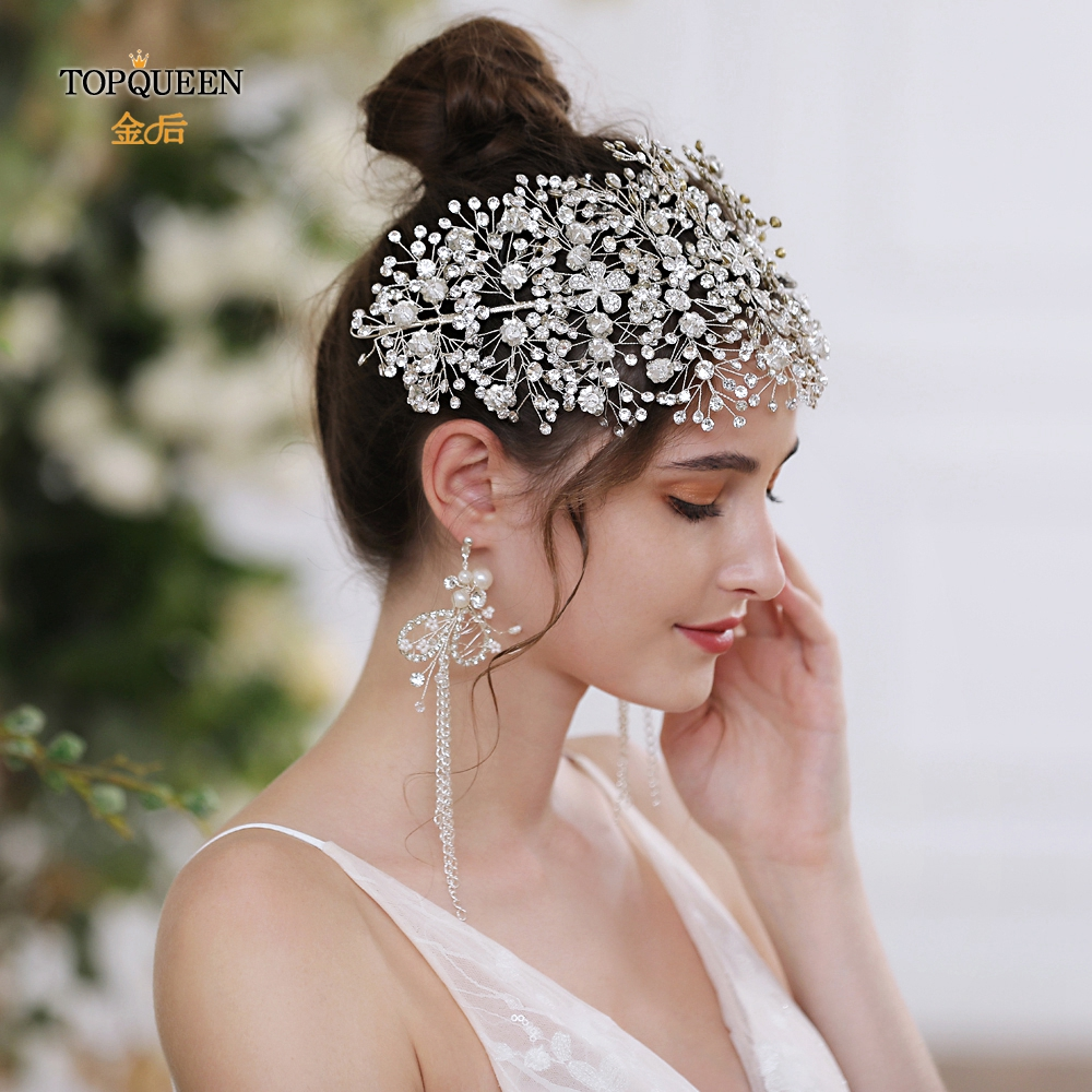 TOPQUEEN HP240 Wholesale Wedding Headband Bridal Crown Jewelry Silver Rhinestone Bridal Hair Accessories Bridal Hair Vines