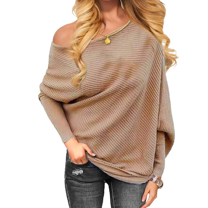 2020 New Sweater Women Sexy Off Batwing Sleeve Pullovers  3XL Harajuku Casual Loose Solid Long Sleeve Knitted Sweater Khaki