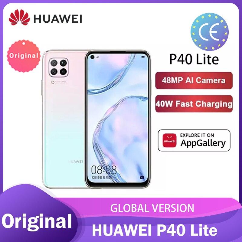 Versão global huawei p40 lite 6gb 128gb celular 48mp ai câmeras 6.4 fkirtela fhd kirin 810 octa núcleo 40w qc smartphone