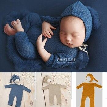 Newborn Photography Props Outfit +Hat Set Fotografia Roupa New Born Baby Boy Girl Romper Accessories Clothes Studio Shoot Photo