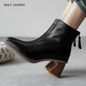 Women Boots Hot Woman Genuine Leather Cow Leather Plus Size Europe and The United States Short Boots Fashion Handmade 6cm Heel