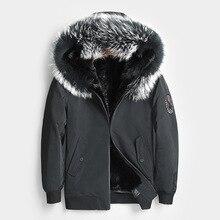 Настоящая шуба мужская норковая шуба воротник из меха енота настоящая меховая Парка мужская одежда корейская бейсбольная куртка Casaco 8807 YY1036