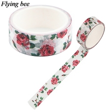 Stationery Sticker Tape-Paper Adhesive-Tape Rose Washi DIY Red 15mmx5m X1068 Flyingbee