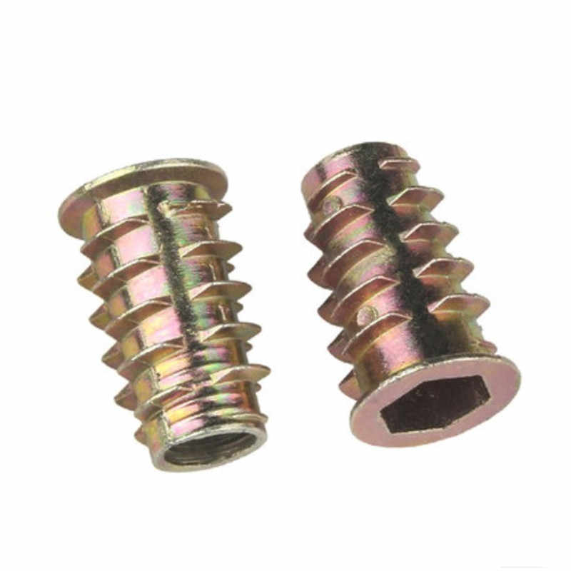 50Pcs M510mm Zinc Alloy Hex Drive Head Nut Threaded Insert Nuts for Wood Furniture