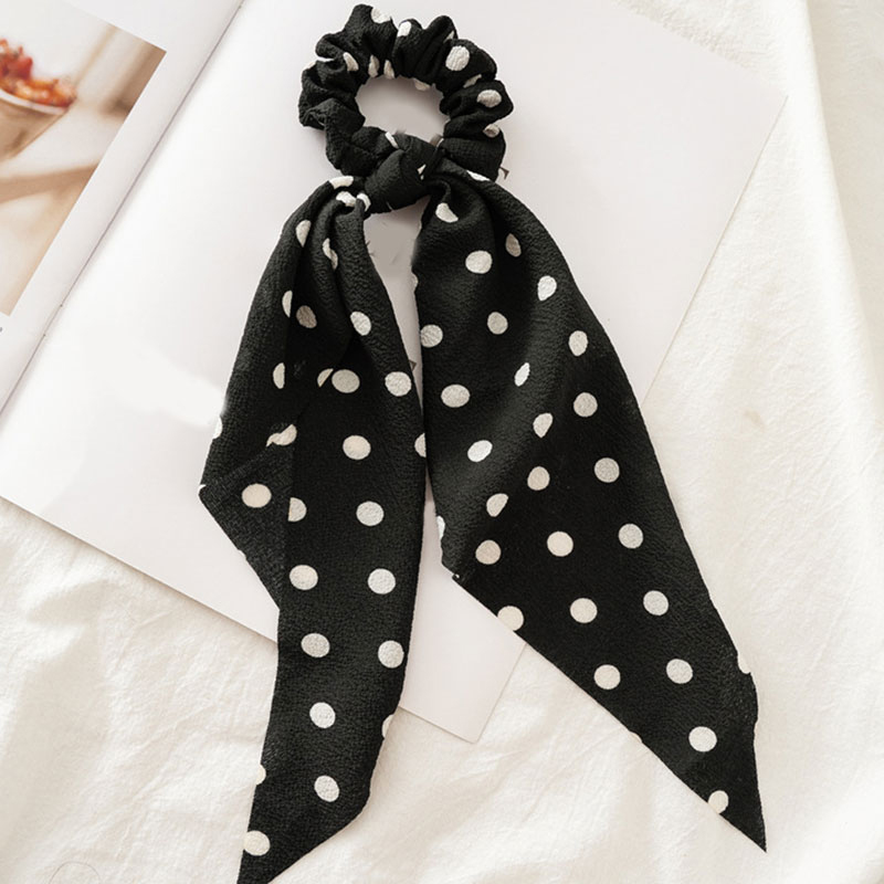 Femmes banderoles chouchous à pois imprimé Floral élastique noeud cheveux corde fille cheveux cravates coréen doux cheveux accessoires chapeaux 46