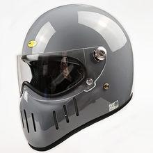 Tt & co estilo japonês capacete da motocicleta com lente clara e preta retro porco do vintage boca rosto cheio capacete de fibra vidro escudo ttco