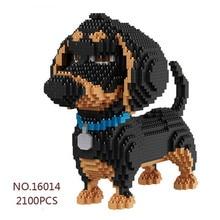 Balody desenhos animados cão mirco bloco de construção dachshund modelo tijolo brinquedos para crianças presentes preto cão de estimação animais kits de construção #2100pc