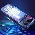10000 мАч TWS беспроводные Bluetooth 5,1 наушники с микрофоном, сенсорное управление, наушники HIFI, мини наушники, спортивные наушники