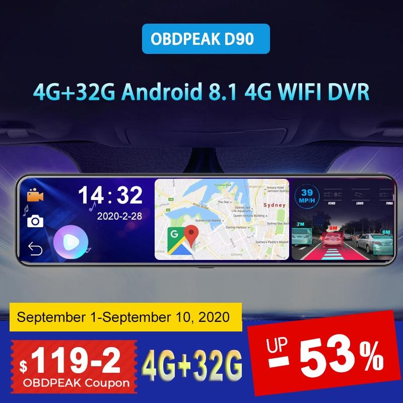 "OBEPEAK D80 12"" Car DVR Rearview Mirror 4G Android 8.1 Dash Cam GPS Navigation ADAS Full HD 1080P Car Video Camera Recorder DVRS 1"