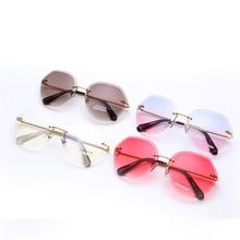 Popular Sunglasses Unisex Alloy Frame Gradient Acrylic Mirror Personality Design Ladies Multicolor Holiday