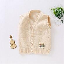 Мягкий удобный хлопковый жилет для младенцев, повседневный жилет без рукавов с рисунком для новорожденных, детские вязаные топы на весну-осень, AA60783