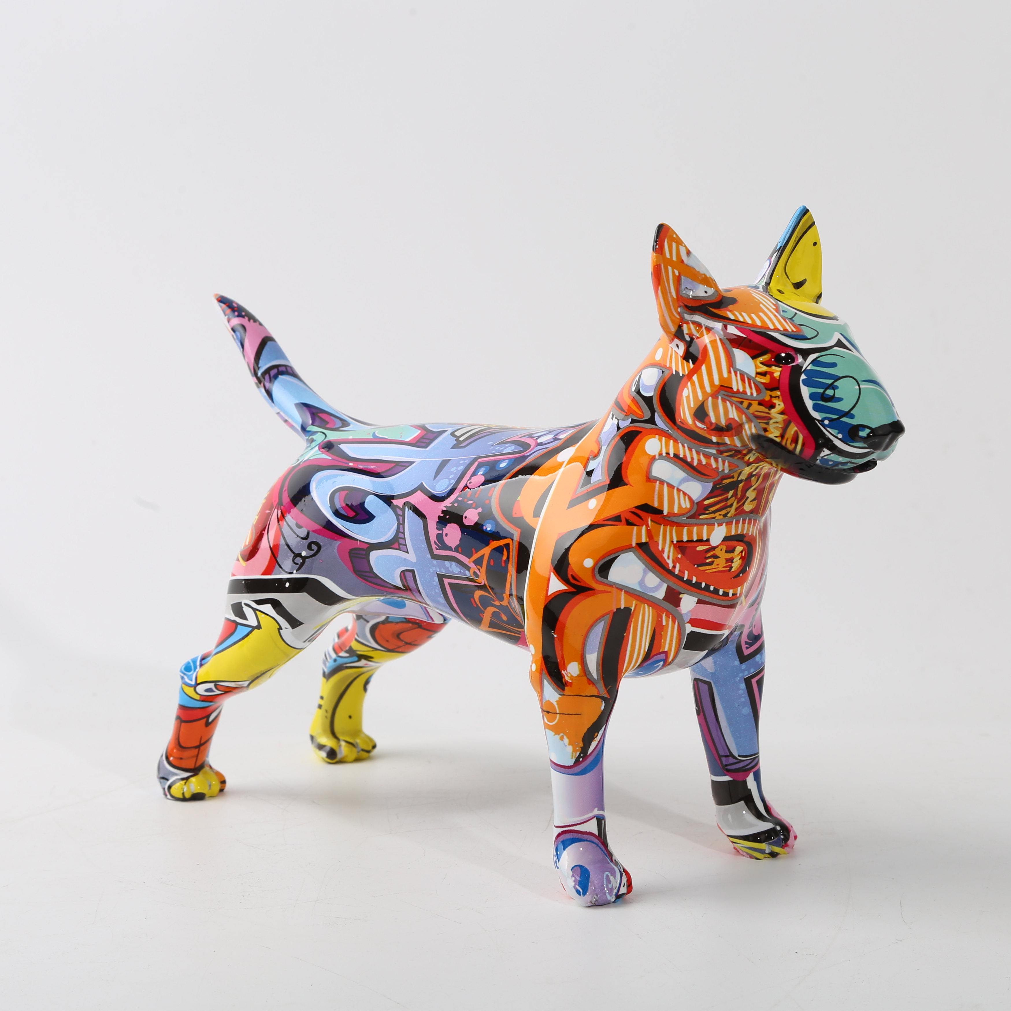Art Colorful Creative Bull terrier Small English Resin Dog Crafts Home Decoration Color Modern Simple Office Desktop Craft