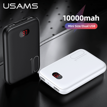 USAMS Mini Power Bank 10000mAh Portable Cell Phone Charger Dual USB For Xiaomi/iphone/Huawei Mobile External Battery Powerbank oisle mini portable external battery charger battery case power bank for iphone x 11 7 8 6s xs 12 samsung s9 huawei p30 xiaomi 9