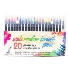 20 цветов, водостойкая ручка, набор, ручка для рисования, Защита окружающей среды, искусство, водная цветная мягкая ручка, водная цветная ручка, цветная ручка, водопроводный кран
