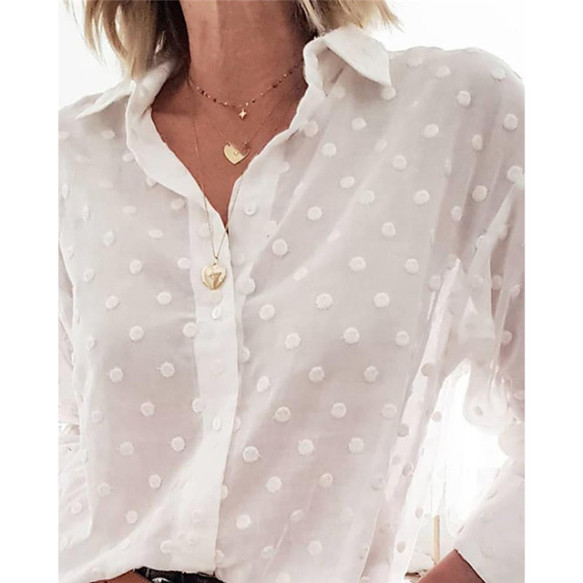 Fashion Womens Tops and Blouses Elegant Long Sleeve White OL Shirt Ladies Polka Dot chemise femme blusa feminina Streetwear 4