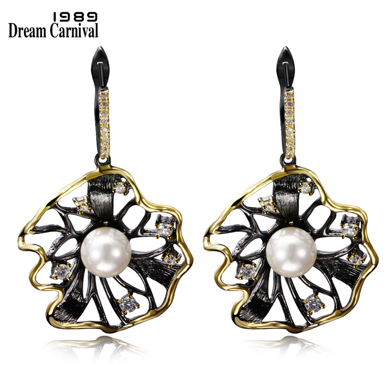 Dreamcarnival 1989 Lotus Flower Earrings Hollow Created Pearl Cz Black Gold Color Hip Hop Pendientes Tipo Gota Parties Jewelries Best Promo 03bdd Cicig