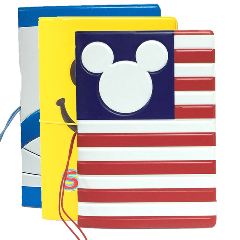 Travel Accessories Cartoon Mickey Stripe Passport Cover ID Address Holder PU Leather Portable Boarding Card Case Wallets Bag
