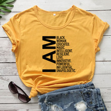 Eu sou preto mulher educada magia camiseta engraçado preto rainha tshirt casual feminino manga curta hipster inspirador camiseta superior