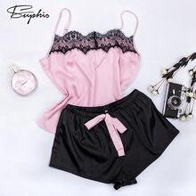 Suphis pyjama en dentelle florale, ensemble Cami, noir, Sexy, vêtements de nuit en Satin, ensemble court, été 2020, décontracté