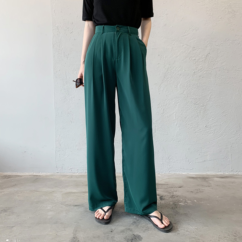 2020 Spring Women Casual Long Pants High Waist Korean Style Chiffon Bottom Pockets Korean Style 4 Colors Wide Leg Pants