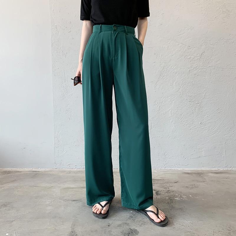 2020 Spring Women Casual Long Pants High Waist Korean Style Chiffon Bottom Pockets Korean Style 4 Colors Wide Leg Pants