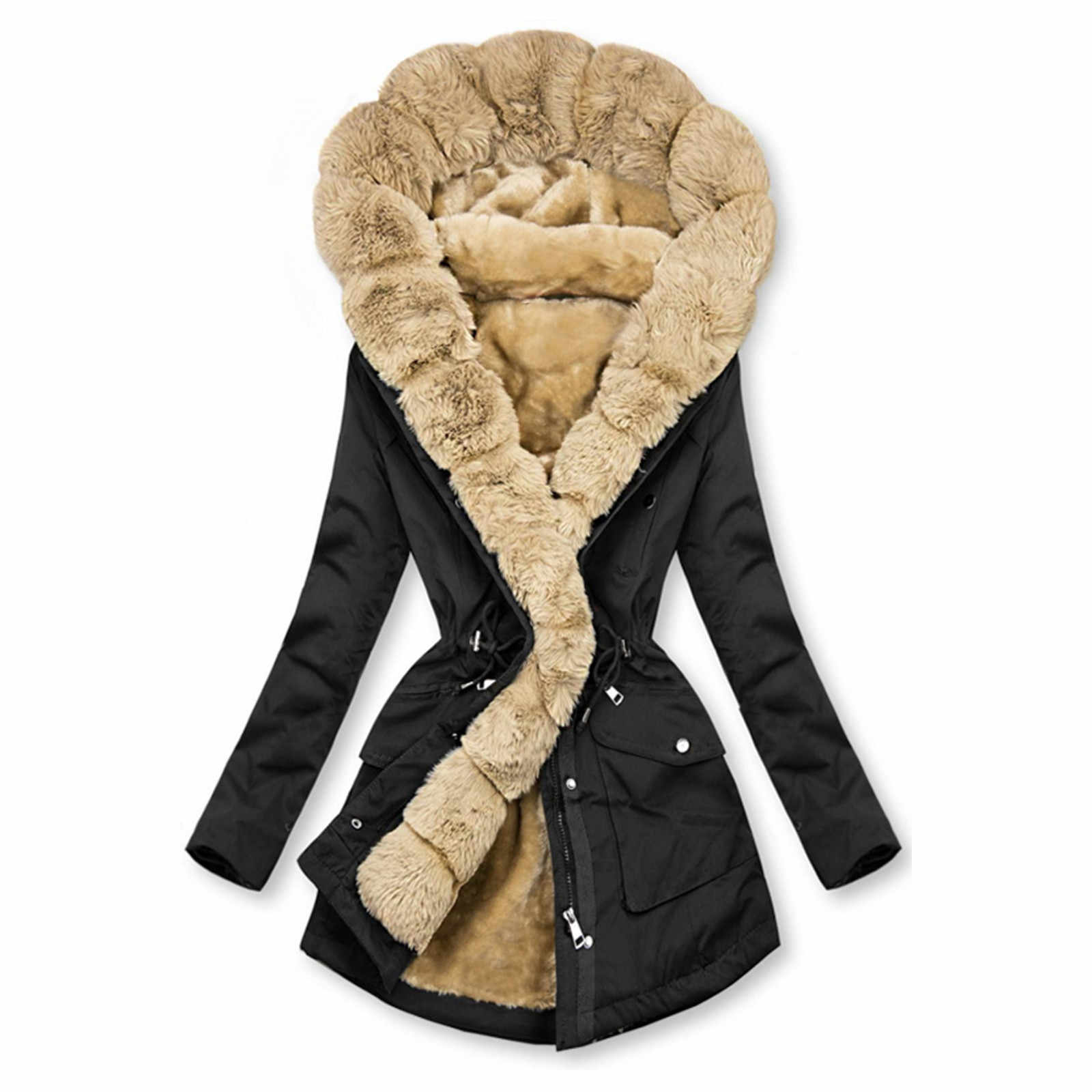 Women Warm Winter Long Sleeve Solid Color Hooded Cotton Faux Fur Lined Padded Coat Outerwear Jacket