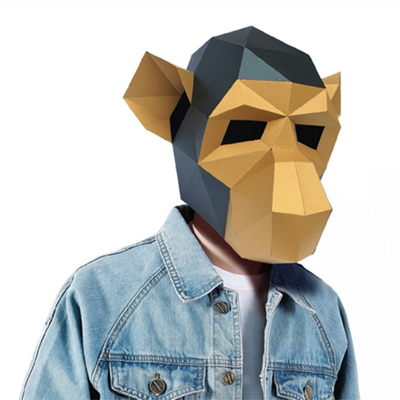 3d Monkey DIY Mask Cosplay Christmas Costume  Adult Children Cardboard Breathable Halloween Ricky Funny Masks