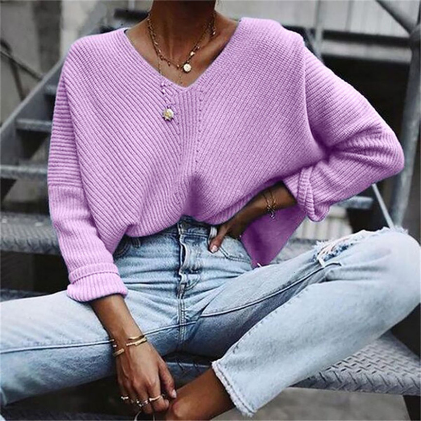 Women Sweater Casual New Fashion Solid Sweater V Neck Long Sleeve Knitted Sweater Blouse Ueter Mujer Invierno 2019