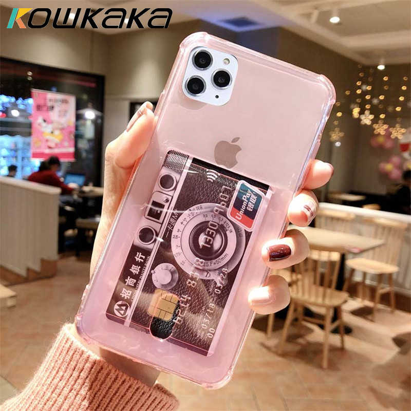 Kowkaka Transparent Candy Color Phone Case For iPhone 11 Pro Max X XR XS Max 6 6s 7 8 Plus Soft TPU  With Card Pocket Back Cover