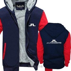 Image 2 - Logo Vintage uomini spessi felpe con cappuccio J Lindeberg golfista libero di trasporto casuale maschio hoody uomini Comical inverno caldo giacca sbz6273