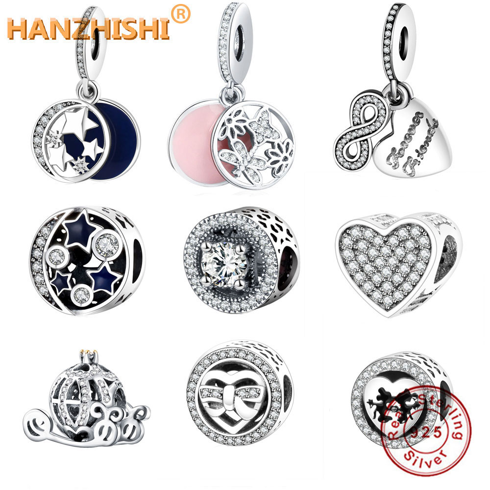 Fit Pandora Charm Bracelet Original 925 Silver Charms Bead Daisy Openwork Charm With Clear Zircon Jewelry Berloque 2019 Summer(China)
