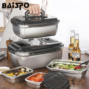 Baispo New Korean Style Lunch Box Induction Cooker Heating Food Container 304 Stainless Steel Bento Box Kitchen Accessories