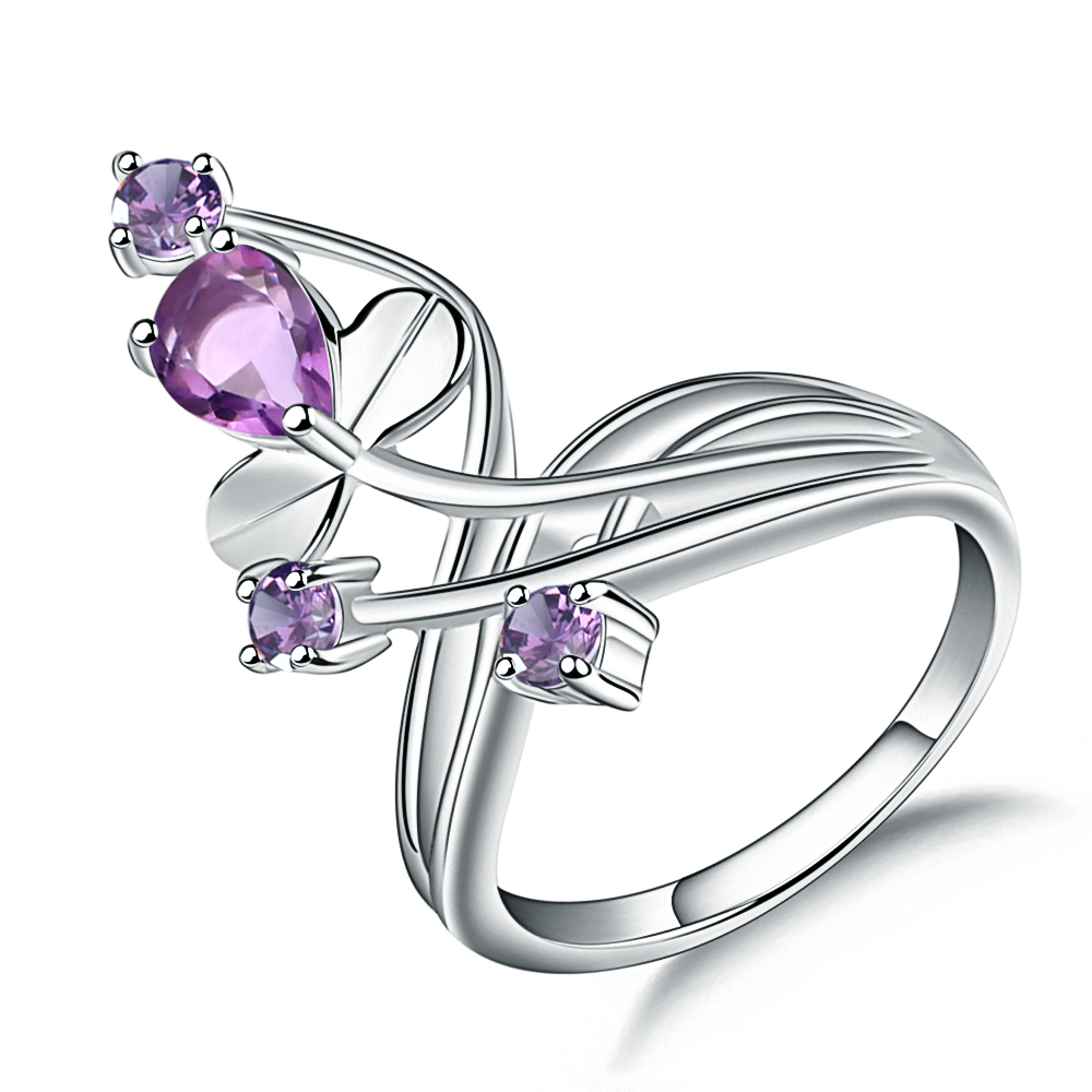 Gem's Ballet 1.06Ct Natural Amethyst Gemstone Finger Ring For Women 925 Sterling Silver Wedding Band Ring Fashion Fine Jewelry