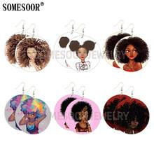 SOMESOOR Cute Afro Baby Pop Arts Wooden Drop Earrings Black Girl Magic Rock Curls Design Printed Wood Dangle For Women Gifts