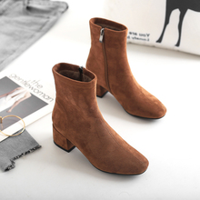 Fashion Black Brown Boots Elegant High Heels Ladies Ankle For Women Slip On Autumn Winter 2019 New