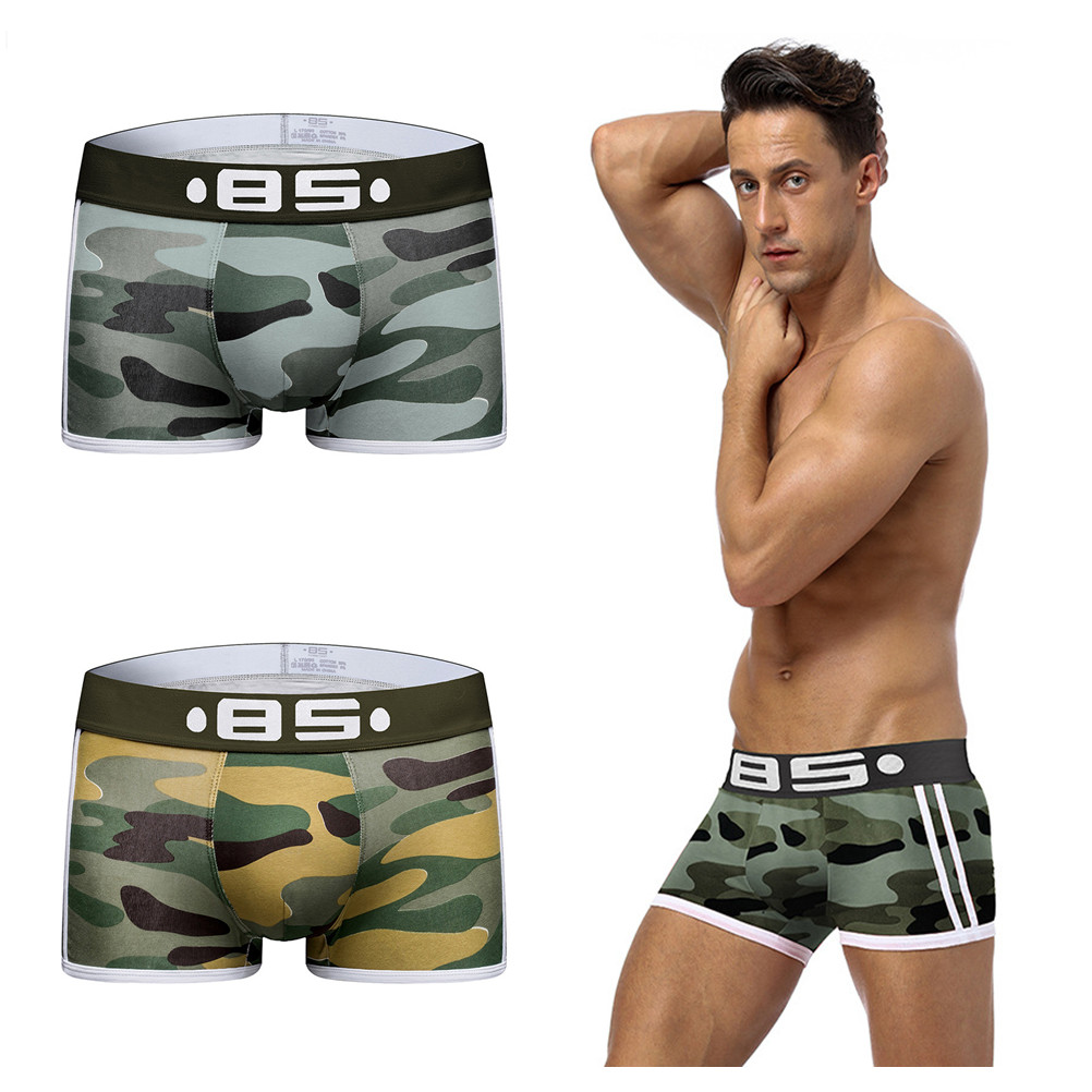 Shorts Men Panties Lingerie Trunks Boxer Camouflage Underwear Sexy 1PCS Knickers