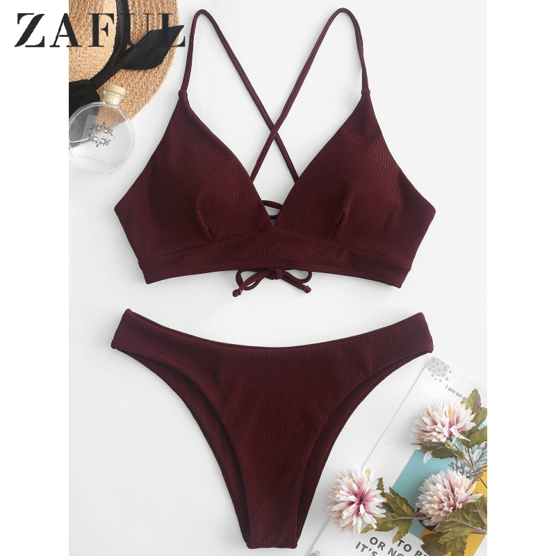 ZAFUL Ribbed Lace Up Cami Bikini Swimwear Spaghetti Straps Padded Bikini Solid Triangle Bikini Basic Women Two Pieces Swimsuit X