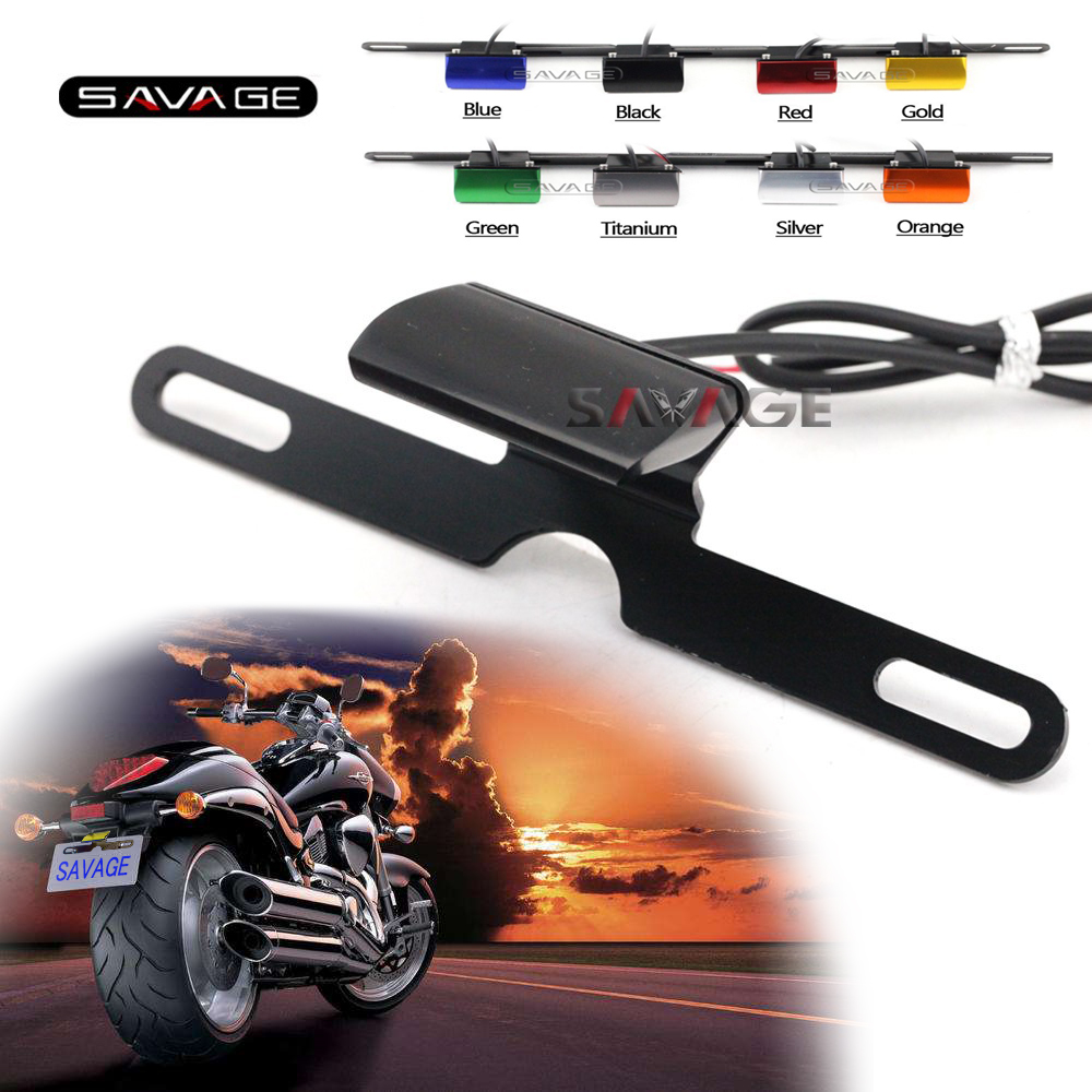 Universal Motorcycle Accessories CNC Aluminum License Plate LED Light For SUZUKI GSXR 600 750 1000 GSX 400F 650F 1250F 1400