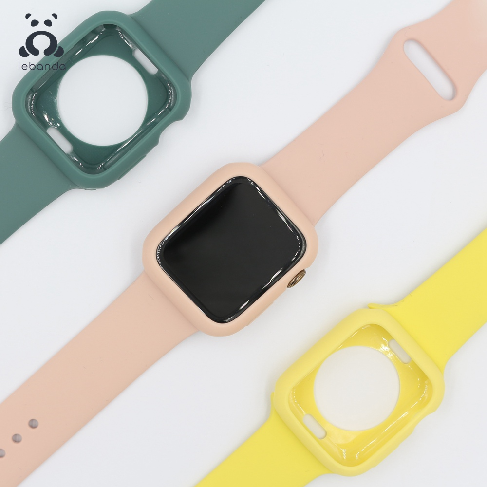 Leband Sport Band With Case For Apple Watch Series 5 4 3 2 1 Strap For Iwatch With Cover 38mm 40mm 42mm 44mm Candy Color