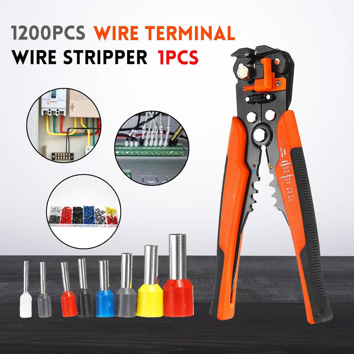 Ev Dekorasyonu'ten Terminaller'de 1201 adet kablo tel terminali bakır kıvrım konektörü Multifucioal el Crimper pense sıkma aracı Set terminali bağlantı kiti title=