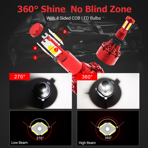 Image 5 - 2Pcs Led 360 H7 Koplamp Lamp 16000LM 4 Side Cob Led H4 H1 H11 H8 HB3 HB4 Auto Fog verlichting 12V 24V Auto Verlichting Voor Hyundai/Skoda