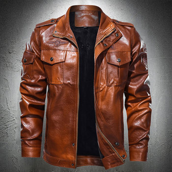 Faux Leather Jacket Men Vintage Motorcycle Jacket Autumn Fashion Biker Coat Zipper Lapel Collar Mens Jackets Plus Size 4XL 2020 1