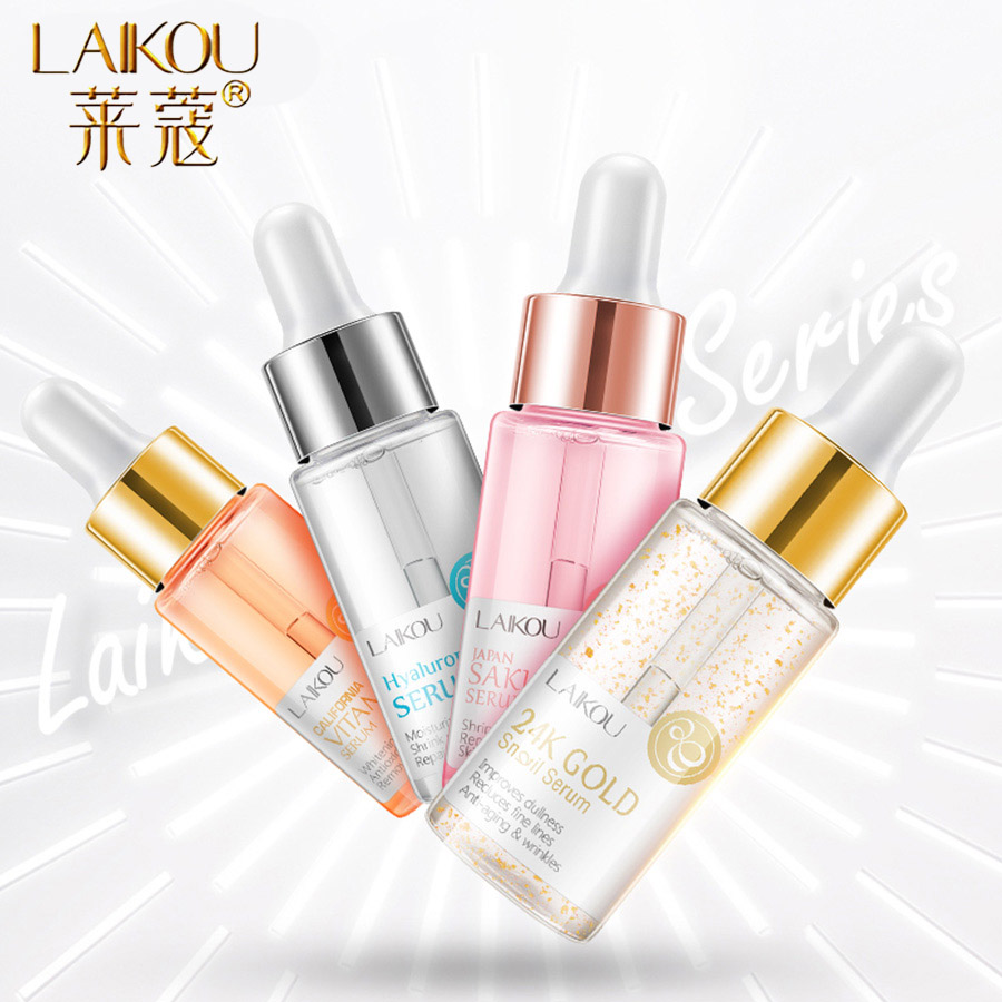 LAIKOU 4 Bottle Hyaluronic Acid Essence Facial Serum Anti Wrinkle Whitening Face Care Anti-Aging Dry Skin Vitamin Serum Essence