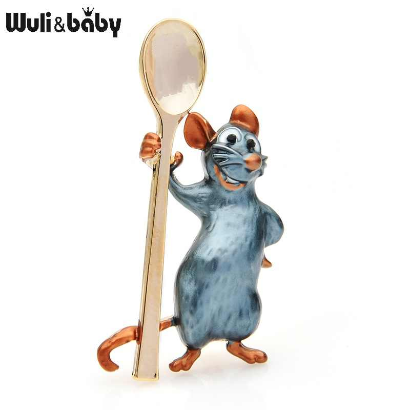 Wuli&baby Holding Spoon Smiling Mouse Brooches Women Alloy Enamel Rat Animal Casual Party Brooch Pins New Year Gifts
