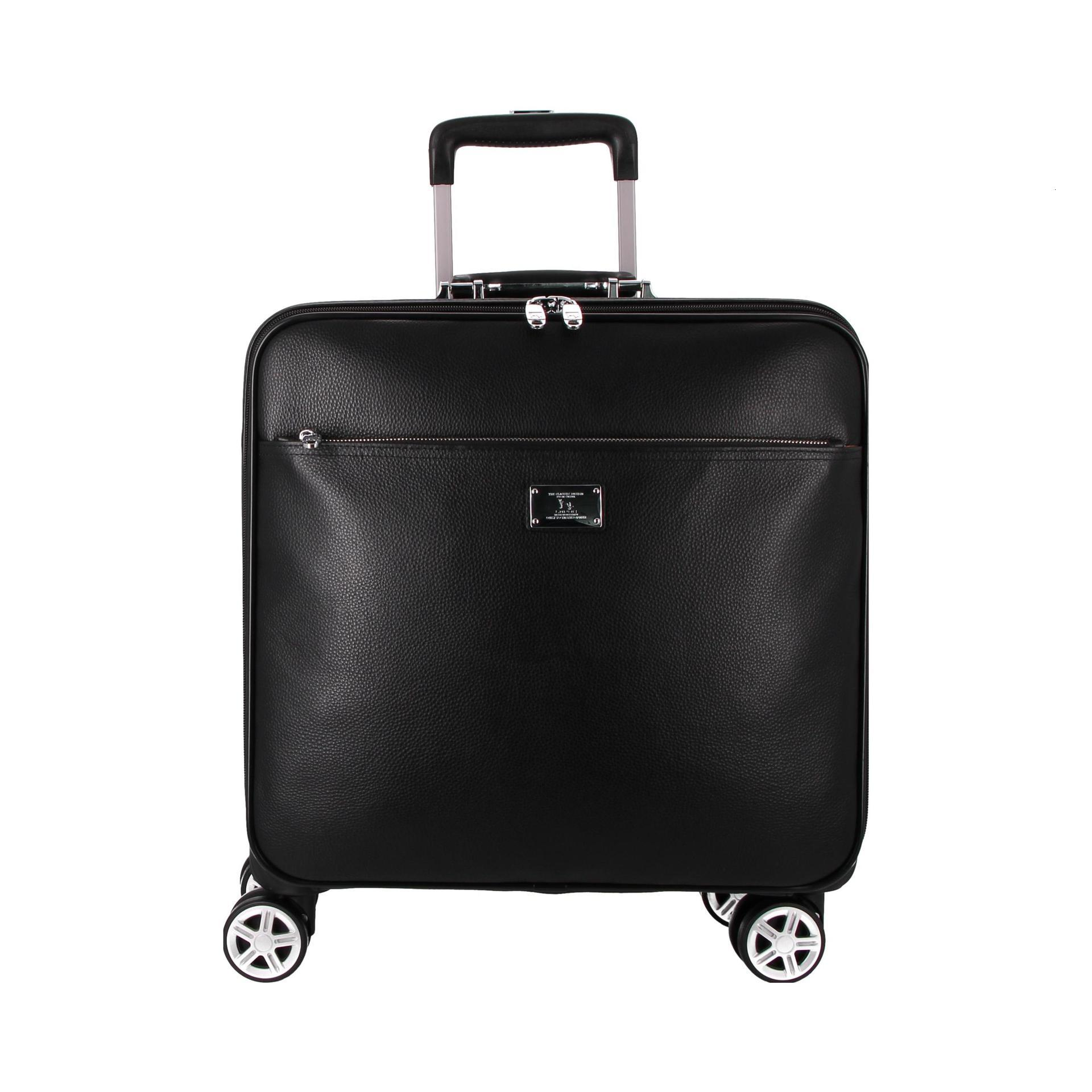 16/20/22inch Real Leather Boarding Box Universal Wheel Trolley Case Portable Luggage High Quality Suitcase Business Valise Bag