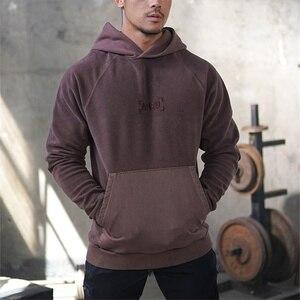 Image 4 - Мужская толстовка с капюшоном и вышивкой для фитнеса, однотонная толстовка с длинными рукавами для бодибилдинга, зима 2019